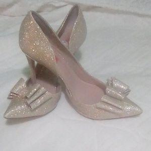 Betsey Johnson Gold Glitter Heels